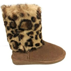 BEAR PAW Leopard Print Fur Cuff Boots